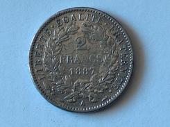 FRANCE 2 Francs 1887 A  - Silver, Argent Franc - France