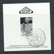 Tonga Niuafo´ou 1990 Moon Landing Anniversary 57s Printers Presentation Card / Proof , No Value , Washington 1989 Cancel - Tonga (1970-...)