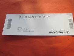 Muséum-Musée Anne Frank Huis House Biglietto Vieux Papiers >Ticket D'entrée >Entry Billet Amsterdam Europe With A Story - Toegangskaarten