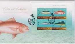 Tokelau FDC Block Mi 48 Fish Of Tokelau - Kakahi (Thunnus Albacares) - Palu Malau (Etelis Carbunculus) - Paala (Acanthoc - Tokelau