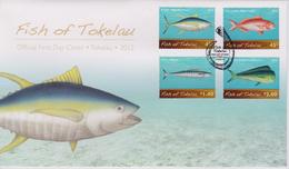 Tokelau FDC Mi 428-431 Fish Of Tokelau - Kakahi (Thunnus Albacares) - Palu Malau (Etelis Carbunculus) - Paala (Acanthocy - Tokelau
