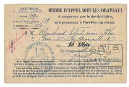 MILITAIRE ORDRE D'APPEL SOUS LES DRAPEAUX LON-LE-SAUNIER 1907 - Documents