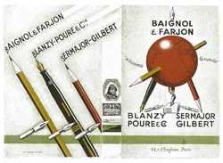 SUPERBE COUVRE-LIVRE PUB BAIGNOL & FARJON BLANZY-POURE & CIE SERMAJOR-GILBERT STYLOS PLUMES ET CRAYONS - Advertising