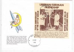 Liberia 1992, Grman-Liberian Friednship ,souvenir Sheet  Rocket, On Official Illustarted FDC- Nice  Space Cover - Liberia