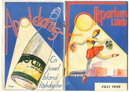 ART DECO SWEDEN 1939 Folkparken Lund Signed CHARP 36 Page Ad RIO CLUB Soft Drink - Werbung