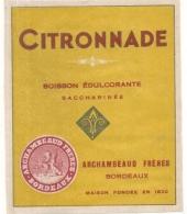 étiquette   - Années 1890/1930 - Boisson édulcorante - Citronade  - Archambeaud   - Bordeaux - Other