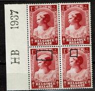 463 Bloc 4   **  Bdf  HB 1937  V 2 Mèche Et LV 3  Griffes - Abarten Und Kuriositäten