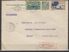Nouvelle Calédonie - N° 102 , 130 Et 144 Obli/sur Lettre Recommandée De Nouméa Pour Bordeaux - 1936 - Briefe U. Dokumente