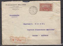 Nouvelle Calédonie - N° 103  Obli/sur Lettre Recommandée De Nouméa Pour Bordeaux - 1936 - Briefe U. Dokumente