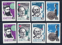 SOVIET UNION 1964 Rocket Scientists Perforated And Imperforate Sets MNH / **.  Michel 2898-901A-B - Space