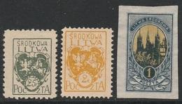 1921 -  Srodkowa Litwa Poczta  -  Puppenstaat Central Litauen (Mittellitauen)  -  ** Postfrisch Ohne Gummi  - Siehe Scan - Litauen