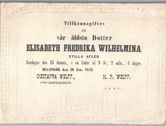 OBITUARY NOTICE SWEDEN FAIRE-PART DÉCÈS SUÈDE 1853 Girl 9 Years Fille 9 Ans Elisabeth F. Wilhelmina WULFF - Obituary Notices