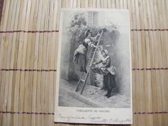 A407. CPA..FLEURS. Ceuillette De Glycine.  Beau Plan Animé . Ecrite & Voyagée 1902 - Plantes Toxiques