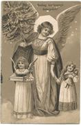 Christmas, Angel Hand In Hand With A Little Girl With A Doll, Beautiful Old Postcard - Angels