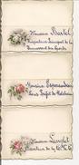 Petit Lot De 3 Marque Places Anciens, Bord Doré Avec Roses - Menu