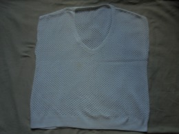 Ancien - Haut/maillot Crocheté Main En Coton Blanc - 1940-1970