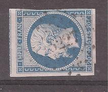 Empire N° 14 A F BLEU LAITEUX Obl Pc 3227 De ST SAINT PALAIS , Basses Pyrénées / Atlantiques INDICE 5  TB - 1853-1860 Napoléon III