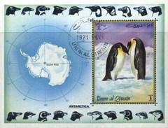 Umm Al Qiwain (United Arab Emirates) Penguin, Antarctica, Polar Philately, Geography Used Cancelled Block M/S (U-120)