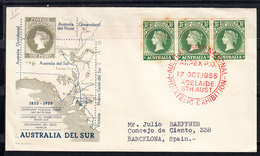 AUSTRALIA 1955.  FDC  FIRST STAMP OF SOUTH AUSTRALIA  CENTENARY.ANPEX.  SEE PICTURE .CN1479 - FDC