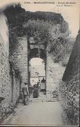 CARTE POSTALE ORIGINALE ANCIENNE : MONCONTOUR ; LA PORTE SAINT JEAN ; ANIMEE ; COTES D'ARMOR (22) - Moncontour