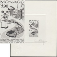 Monaco 1986 Y&T 1553. Épreuve D'artiste. Atomes D'hydrogène, De Carbone Et De Chlore, Industrie Chimique, Automobile - Química
