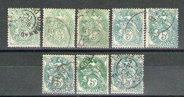 8 N° 101°_belles Nuances Pâle Foncé Bleu-vert... - 1900-29 Blanc