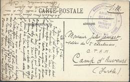 """Carte SM 1916 Cachet """"ARMEE BELGE/FRANCHISE POSTALE/INTENDANCE DU HAVRE"""" Pour Le Camp D'Auvours - Niet-bezet Gebied"""