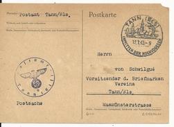 "1943 - ALSACE ANNEXEE - HAUT-RHIN - CARTE Du SERVICE POSTAL De THANN ""b"" - Storia Postale"