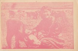 CPA AGRICULTURE, BREEDING, MONGOLIAN CATTLES, HERD, WOMAN - Viehzucht