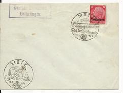 1941 - MOSELLE OCCUPEE - ENVELOPPE NON ADRESSEE Avec 2 OBLITERATIONS DIFF. FOURNEE DU TIMBRE à METZ + DEUTSCHE DIENSPOST - WW II