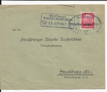 1941 - ALSACE OCCUPEE - ENVELOPPE De STRASBOURG Avec OBLITERATON AMBULANT - Railway Post