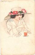 Illustrateur MAUZAN - Jolie Femme Avec Paille Devant Un Verre -  Carte Postée - Mauzan, L.A.