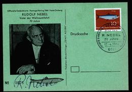 A4358) Raumfahrt Karte Von Hering Mit Autogramm Rudolf Nebel - Briefe U. Dokumente
