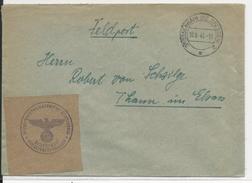 1943 - ENVELOPPE FELDPOST (AVIATION - FLIEGERHORSTKOMPANIE) De GROSSENHAIN (Bz DRESDEN) => THANN - Allemagne