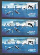 AUSTRALIAN ANTARCTTIC TERRITORY WHALES AND DOLPHINS BALLENAS DELFINES TRES HOJITAS UAN CON SOBRECARGA SINGAPORE 95 Y OTR - Antarctic Wildlife