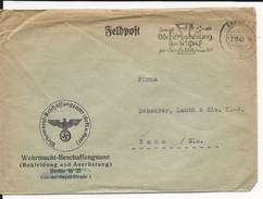 1943 - ENVELOPPE FELDPOST (EQUIPEMENT/ARMEMENT) De ERFURT => THANN - Germany