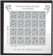 07 / 10 / 2106 - 70° Salon D´automne à Paris - 140 Ans Du Type SAGE - Blocs & Feuillets