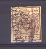 06095  -   Lombardo-Venetie  :  Mi  4 X II  (o) Tyoe II   , Papier Main  , Extremité Basse Du 3 Anguleuse - Lombardy-Venetia