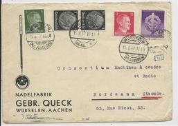 1942 - ENVELOPPE PUB DECOREE CENSUREE De WÜRSELEN (AACHEN) => BORDEAUX - Allemagne