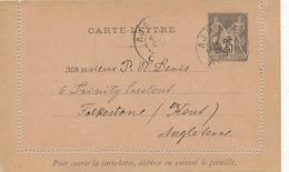 FRANCE - 1886 , CARTE-LETTRE Nach Folkstone / Kent - Ganzsachen
