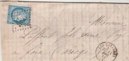 Yvert 60A Sur Lettre LES CABANNES Ariège GC 685 - 11/12/1872 Pour Foix Ariège - Marcophilie (Lettres)