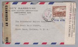 Haiti 1944-05-05 Port-au-Prince Luftpostbrief Mit Doppelzensur Nach South Bend Indiana USA - Haïti