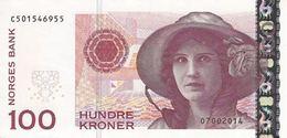 NORWAY 100 KRONER 2014 P-49e UNC S/N C501546955 FROM BANKNOTENEWS.COM [NO049e] - Norvegia