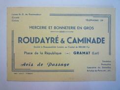 GRAMAT  (Lot)  :  Carte  PUB   ROUDAYRE & CAMINADE   Mercerie Et Bonneterie En Gros   XXX