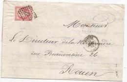 - Lettre - LOIRE INFre - NANTES - PC.2221 S/TPND N°17B Rose  + Càd Type 15 - 1862 - 1853-1860 Napoleone III