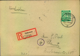 1946, Einschreiben Ab (1) FALKENSEE, R-Zettel Mit PLGZ (1) - American,British And Russian Zone