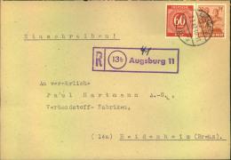 1947, Einschreiben Mit Violettem R-Stempel (13b) Augsburg 11 - American,British And Russian Zone