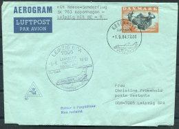 1984 Denmark Aerogramme First Flight Copenhagen - Leipzig - Airmail
