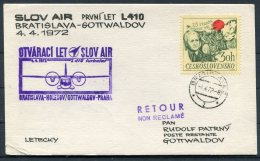 1972 Bratislava - Gottwaldov First Flight Slov Air Postcard - Airmail