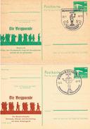 DDR Ganzsachenkarten Aus Schwarzenberg Erzgebirge, Handwerker, Schmiede, Maurer, Zimmerleute, Musiker, Weihnachtsmarkt - Storia Postale